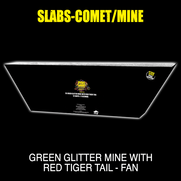 Green Glitter Mine with Red Tiger Tail - Fan