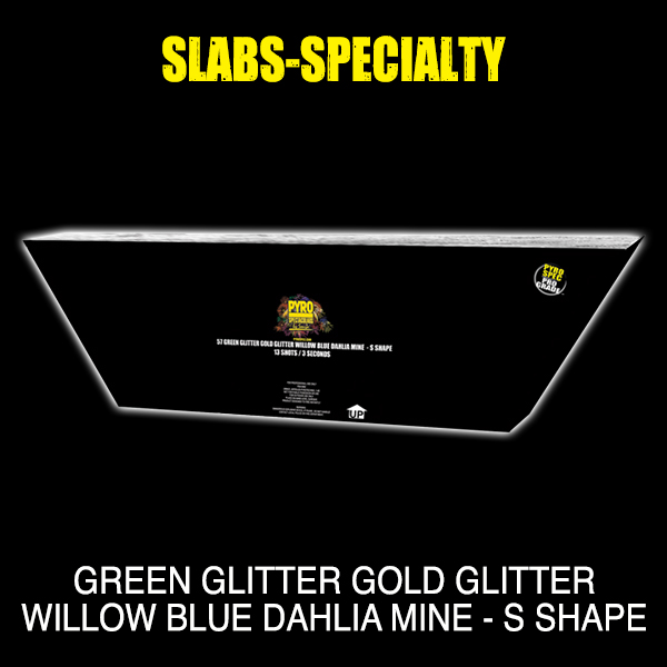 Green Glitter Gold Glitter Willow Blue Dahlia Mine - S Shape